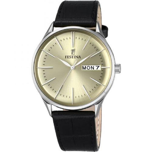 F6837/2 Festina Retro Mens Silver Round Leather Strap Watch